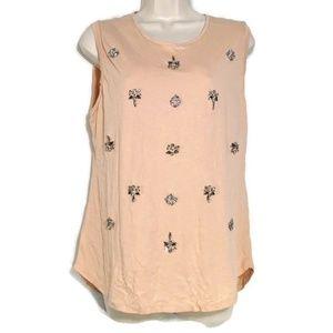 Ann Taylor Loft Top Tank Women Size L Pink Jeweled